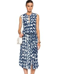 VInce Ikat Print Cargo Maxi Dress in Ink&Off White